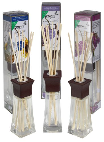 Greenair All Natural Reed Diffuser Set Of 3, Sweet Pea & Ginger, Vanilla Passion, And Fresh Linen, 2.2-Ounce Containers front-888327