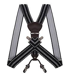 JIERKU Y Suspenders Side Clip Suspenders for Men Black Suspenders Black Stripe