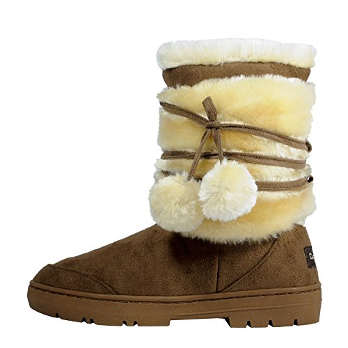 Clpp'li Womens Pom Pom Fully Fur Lined Waterproof Winter Snow Boots-Chestnut-7