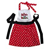 "Grasslands Road Holiday Studio 100 ""Santas Top Baker"" Red and White Polk a Dot Apron"