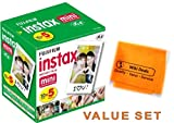 Fujifilm Instax Mini Fuji Instant Film Five Pack BUNDLE: 5x10 Sheets for 50 Pictures! BONUS-FREE Wiki Deals Colorful Micro Fiber Cloth!