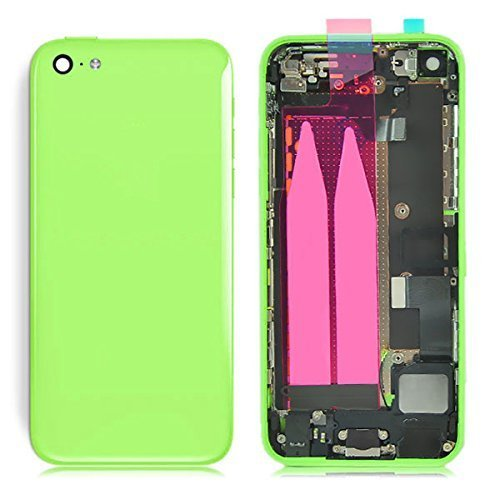 Preassembled Mid Middle Frame Bezel Complete Back Cover Full Metal Housing Assembly Battery Door Rear Case Replacement Spare Parts For Iphone 5C (Green)