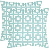 Safavieh Pillow Collection Throw Pillows, 18 by 18-Inch, Emily Turquoise, Set of 2