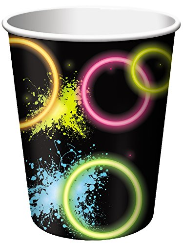 Glow Party Paper Cups 8pk with neon theme.