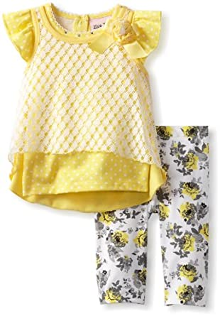 Little Lass Baby-Girls Infant 2 Piece Capri Set with Bow Detail, Yellow, 18 Months
