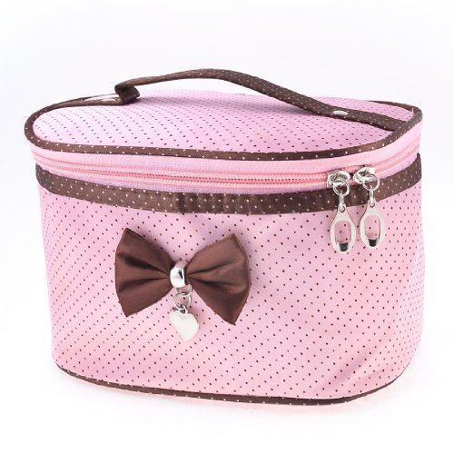 FOREVER YUNG Lady Dots Print Zip up Closure Pink Brown Cosmetic Bag Purse w Mirror modella personal purse case pink polka dots 2 count