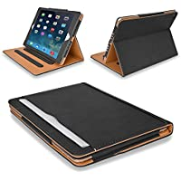 """MOFRED® Black & Tan Apple iPad Air (Launched November 2013) Leather Case-MOFRED®- Executive Multi Function Leather Standby Case for Apple New iPad Air with Built-in magnet for Sleep & Awake Feature -- Independently Voted by """"The Daily Telegraph"""" as #1 iPad Air Case!"""