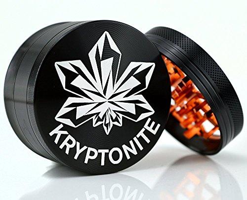 "Kryptonite Grinders - Large Herb Tobacco Spice Weed Grinder - Four Piece Clear Top with Pollen Catcher - Lightning Grinder - Premium Grade Aluminum (2.5"", Black) (Intense (Burnt Orange))"