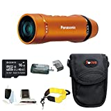 Panasonic A1 Ultra-Light Wearable HD Action Cam - HX-A1MD (Orange) with 16GB Accessory Bundle