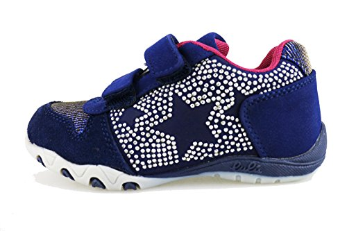 LULU' 28 EU sneakers bambina blu camoscio tessuto strass AG654