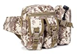 R-STYLE サバゲーやミリタリーファッションに 水筒入れポーチ付多機能ウエストバッグ (砂漠デジタル迷彩柄)