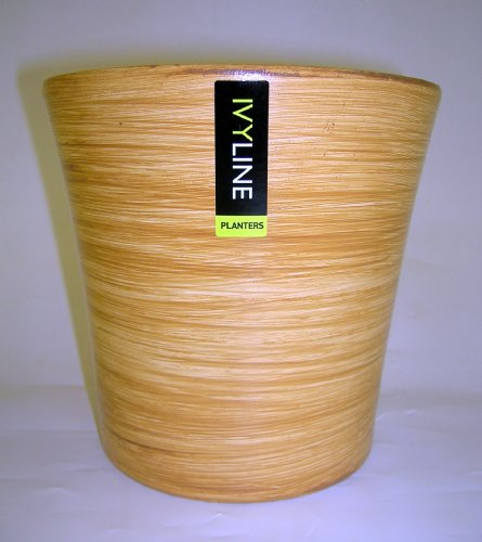Ivyline BE1920 21cm Hand Painted Ceramic Planter- Bamboo colour