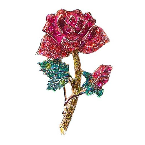 Rose and Rosebud Pin Brooch Swarovski Crystals