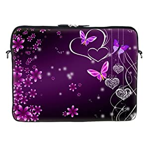 High Quality Thick Neoprene Laptop Carrying Case Sleeve Bag w. Soft Fabric Lining & Eyelet (D-Ring) for 15 15.6 Inch Notebook - Pink Flower Butterfly Design from Meffort Inc