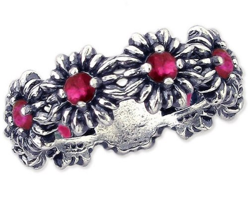 Sterling Silver Blossom Stackable Ring with Round Genuine Gemstone-Ruby-in full,half,quarter sizes from 5 to 9_7.5