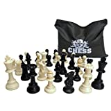Classic Tournament Staunton Chessmen - 90% Plastic Filled Black & Cream Plastic Set with 3.75 in. King