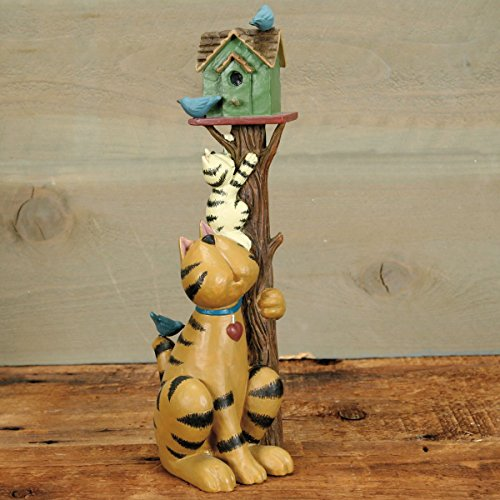 Williraye Studio - Up a Tree Kitty - Cats Climbing a Tree to Birdhouse Figurine