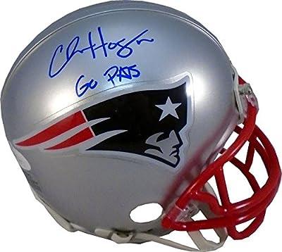 """Chris Hogan """"Go Pats"""" Autographed New England Patriots Mini Helmet (JSA)"""