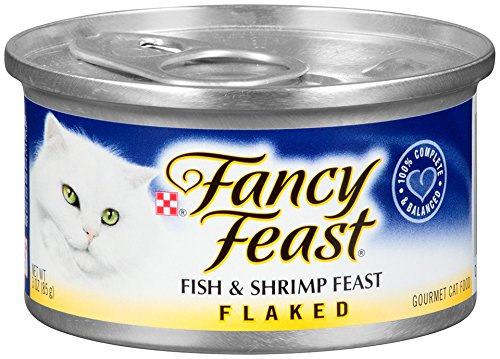 Purina Fancy Feast Wet Cat Food, Flaked, Fish & Shrimp Feast, 3-Ounce Can, Pack of 24 (Fish And Cat compare prices)