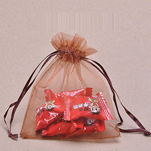 Kalevel 100 Pcs 7*9Cm Organza Drawstring Bags Gift Bags Wedding Bags For Favors Jewellery Pouches Bags (Coffee) front-629000