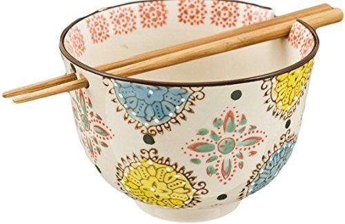 Ramen Udong Noodle Soup Cereal Bowl W/ Chopsticks (Henna)