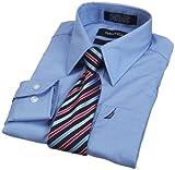 Nautica Dress Up Boys Poplin Shirt And Tie Set