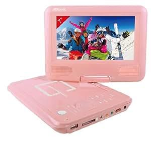 "Takara VR122P Lecteur DVD portable 7"" (17,7 cm) USB Carte SD Rose"