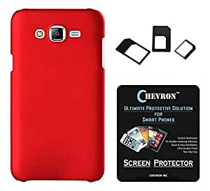 Chevron Rubberized Matte Hard Back Cover Case for Samsung Galaxy J2 with HD Screen Guard & Multi Sim Adapter (Red)