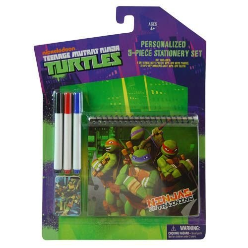 Teenage Mutant Ninja Turtles 5 Piece Stationery Drawing Set - TMNT Dry Erase Notebook with Markers