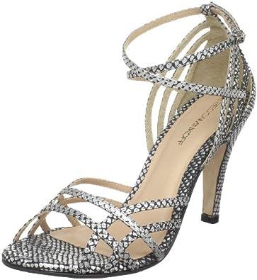 Rebecca Minkoff Women's Knockout Ankle-Strap Sandal, Silver Snake, 5.5 M US