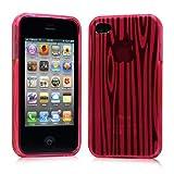 iPhone 4 ケース ソフト TPU ゼブラ模様  ピンク 液晶保護フィルム USB充電ケーブル付