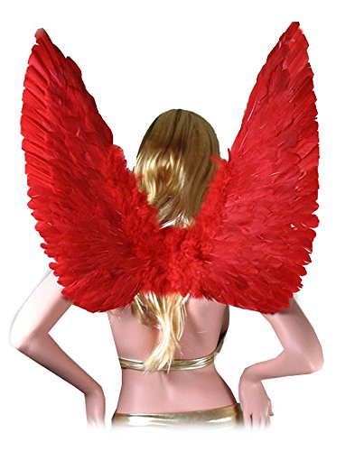 SACAS Large Red Feather Angel Wings for women, men and teens