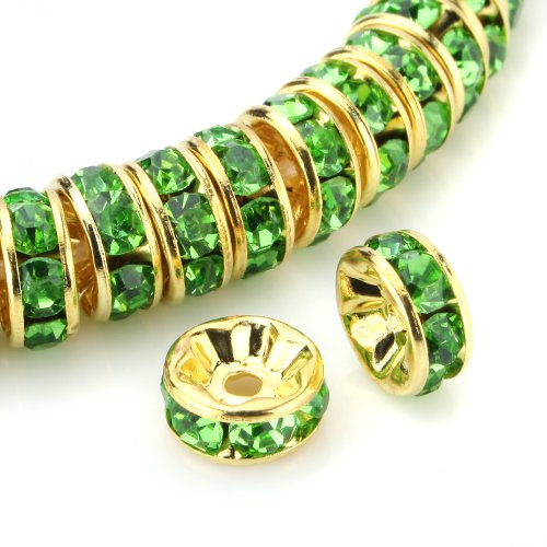 Beadnova 100 Pcs Gold Plated Crystal Rondelle Spacer Beads 8Mm (#214 Peridot)