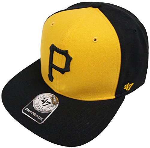 MLB Pittsburgh Pirates Sure Shot Accent '47 Captain Adjustable Snapback Hat, black, One Size,Black