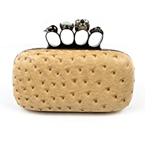 Woman Evening Clutch Bag Ostrich Print with Black Satin Skull Ring Knuckle Duster Four Rings Cocktail Party Night Club Bags from Bao Bao Shu
