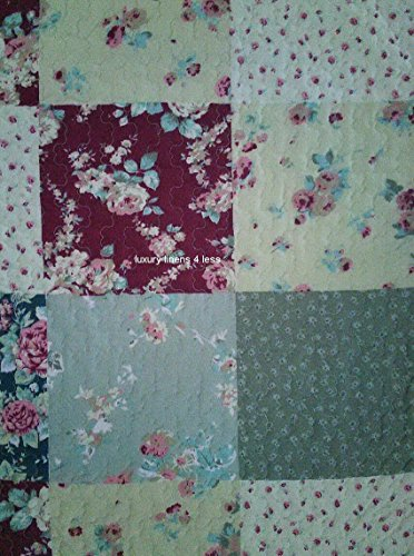 Get Quilt Coverlet Set Full Queen Double Size French Country Flowers Floral Patchwork Pattern ...