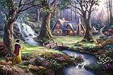 12x18 Thomas Kinkade Disney Art Print on Cotton Canvas - Snow White Discovers the Cottage