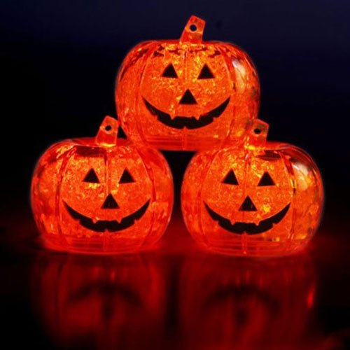 Set Of 3 Litecubes Brand Light Up Led Ice Cubes Pumpkin Jack O Lantern