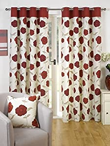 Superb 100% Cotton Red Cream Floral Poppy Ring Top Lined Curtains 66x90 **gt** by Curtains