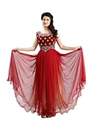 Sharmili Womens Net Fabric Ready-To-Wear Anarkali Salwar Suit With Stone & Zari Works On Velvet Yoke