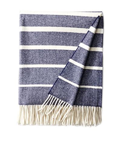 Foxford Stripe Herringbone Throw, Blue/White