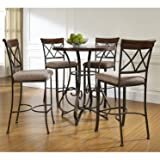 5 PC Hampton Wood and Metal Pub Set , Table & 4 Stationary Stools