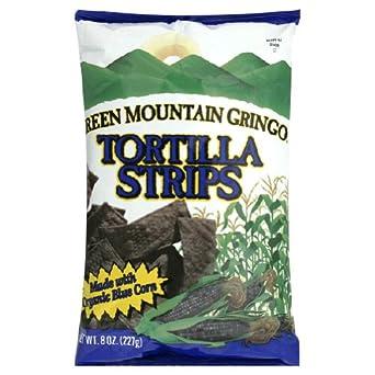 Green Mountain Gringo Organic Blue Corn Tortilla Strip, 8 Ounce -- 12 per case.