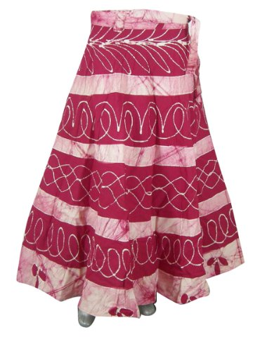 Block Print Long Wrap Cotton Multicolor Skirt for Girls India