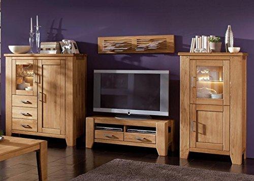 Firstloft 501-0500 Wohnkombination, Loft, bestehend aus den Typen 105-0100, CD-Paneel 118-0200, TV-Lowboard 116-0000 und Highboard 105-0300, Wildeiche massiv, geölt