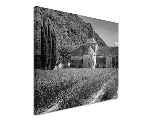 50x70cm Leinwandbild schwarz weiß in Topqualität Kloster mit Lavendelfeld Frankreich
