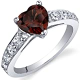 Revoni Dazzling Love 1.50 Carats Garnet Ring in Sterling Silver Size P 1/2,