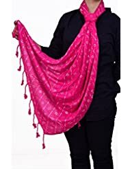 Dulhan Choice Semi Pashmina Painted Stole In Dark Pink Colour
