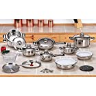 12 Element 28pc T304 Stainless Steel Waterless Cookware Set Pots Pans Lid Grater