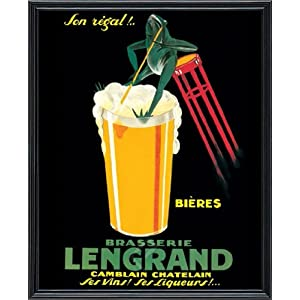 Brasserie Lengrand, c.1922 by G. Piana, Beer vintage Advertising Poster 16 x 20. Print. (18 x 22, real wood Classic black picture frame #3)